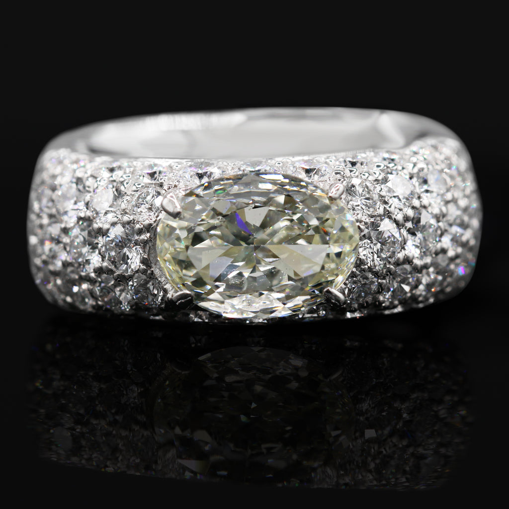 Dazzling Platinum Oval Pave Set Diamond Band Ring (3.45ct Diamond Carat Weight)