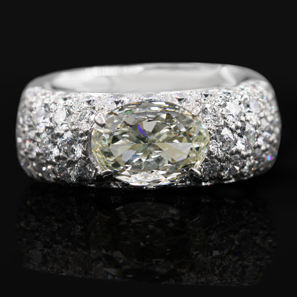 Diamond Pave Band In Platinum ( 3.45ct dtw / 1.50ct ctr dia  )
