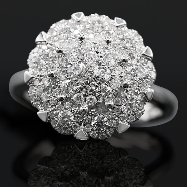 Diamond Cluster Ring In 10 Karat White Gold ( 1.00ct dtw )
