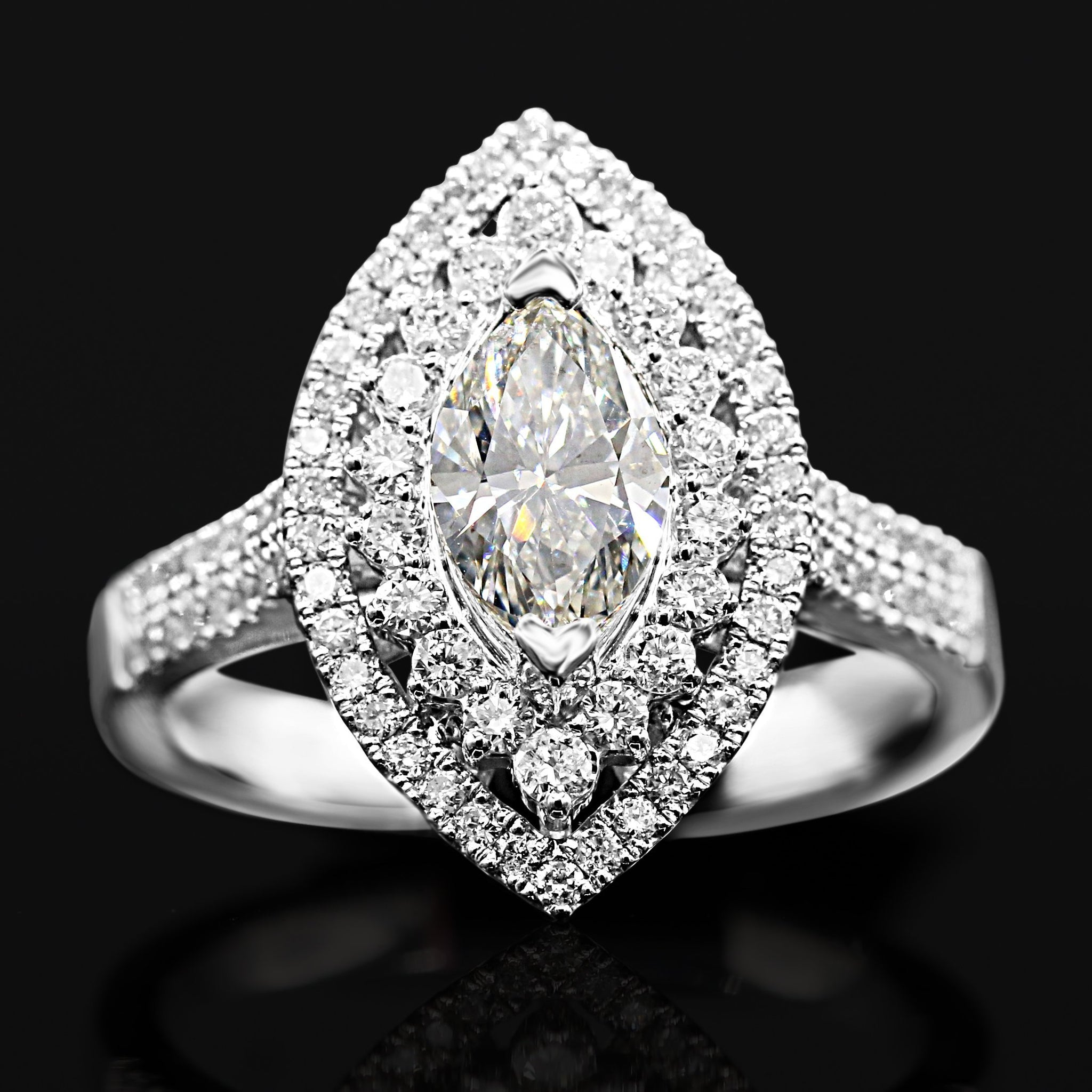 Mesmerizing 14K White Gold Marquise Diamond Ring (1.66ct/0.92ct Carat Diamond Weight)
