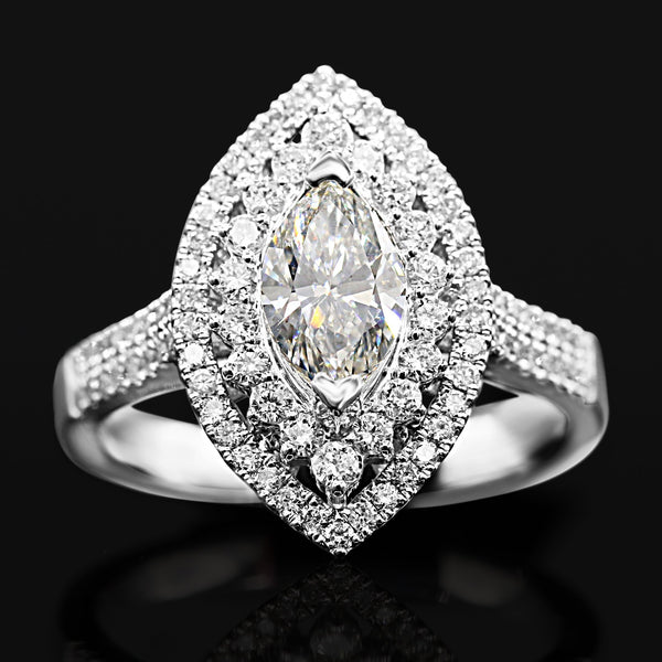 Diamond Marquise Ring In 14 Karat White Gold ( 1.66ct tw / 0.92ct Marq ctr )