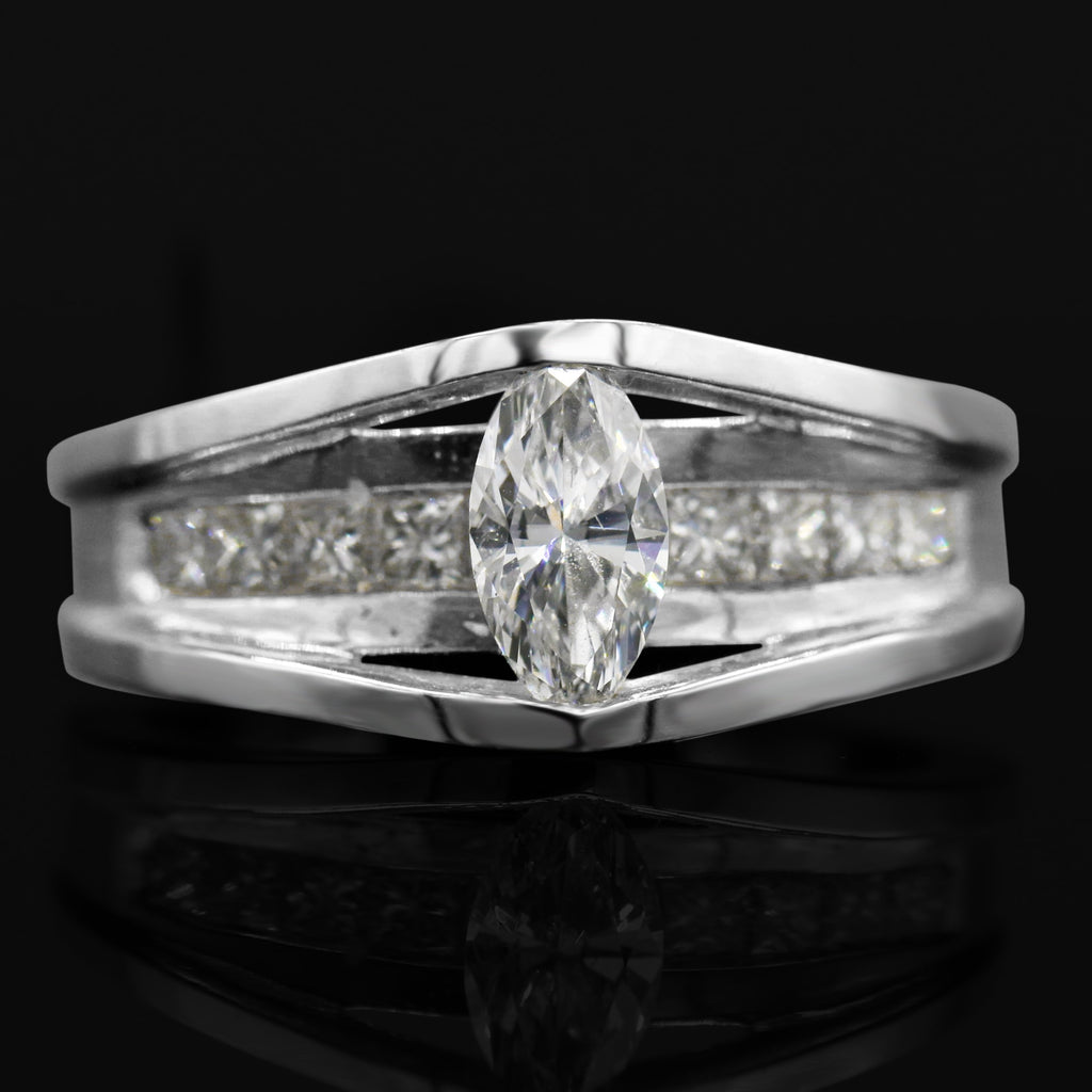 Eye-Catching 14K White Gold Marquise Cut Diamond (1.01ct Diamond Carat Weight) Ring