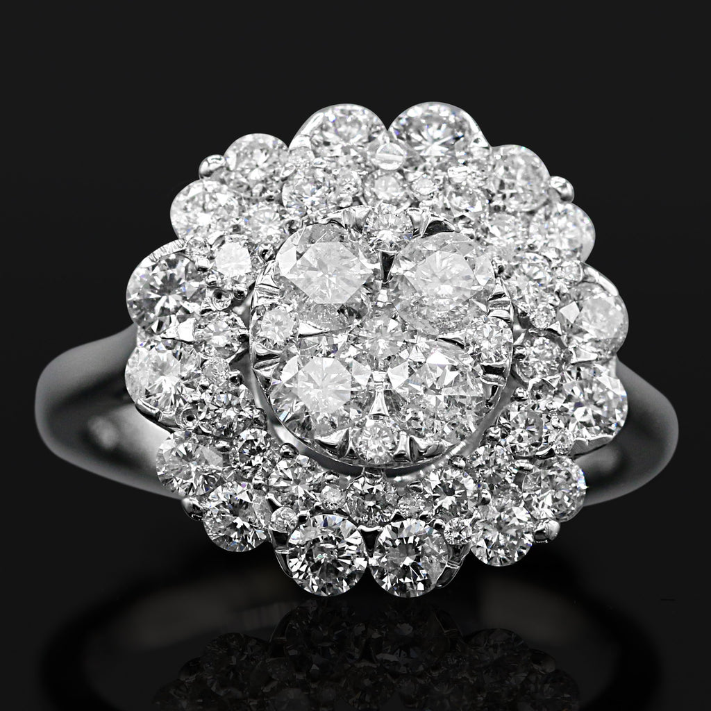 Fabulous 14K White Gold Round Brilliant Cut Diamond Cluster Ring (2.00ct Diamond Carat Weight)