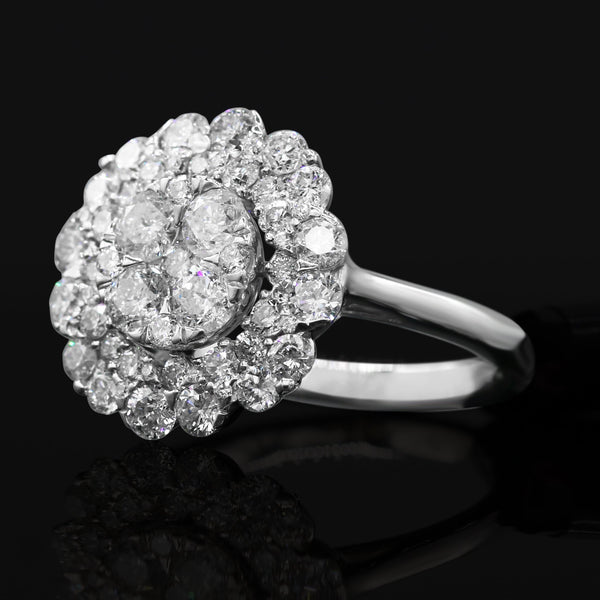 Diamond Cluster Ring In 14 Karat White Gold  ( 2.00ct dtw )