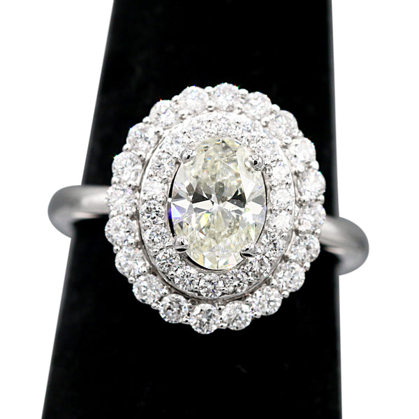 Diamond Oval Double Halo Ring Set In 14 Karat White Gold ( 1.88ct dtw )