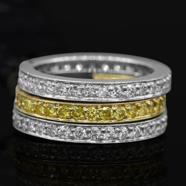 Diamond Band Set In Platinum And 18 Karat Yellow Gold  (2.60ct wht dtw / 1.6ct yell dtw )