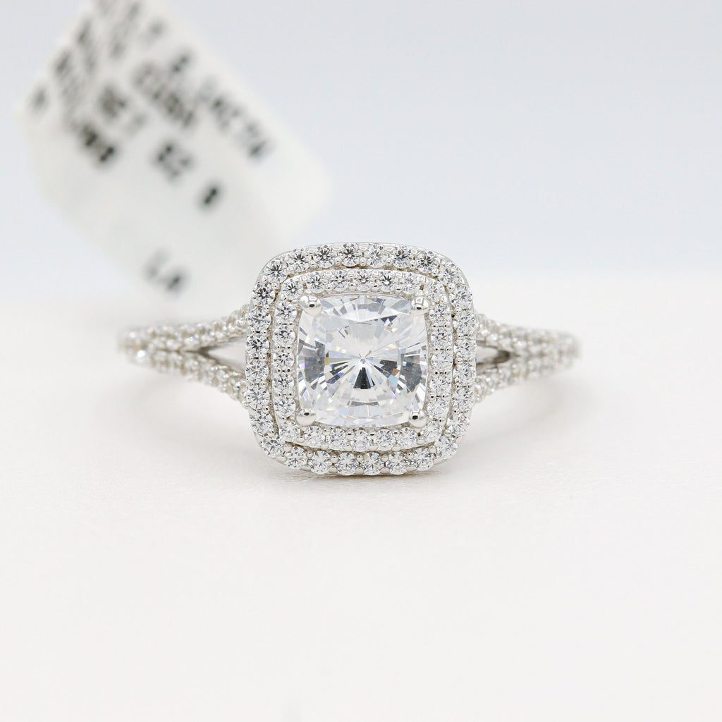 Glamorous Lafonn Sterling Silver Bonded in Platinum Bridal Ring (2.14ct Simulated Diamonds)