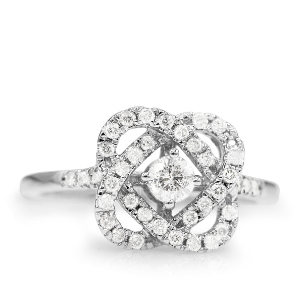 Diamond Love Crossing Ring In 14 Karat White Gold ( 1/2ct dtw )