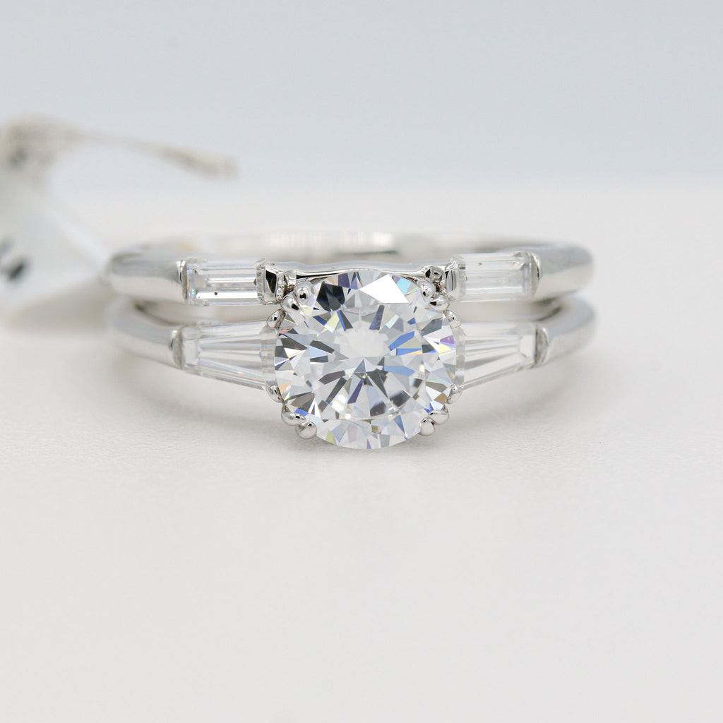 Stunning Lafonn Sterling Silver Bonded in Platinum Wedding Ring set (2.17ct Simulated Diamonds)