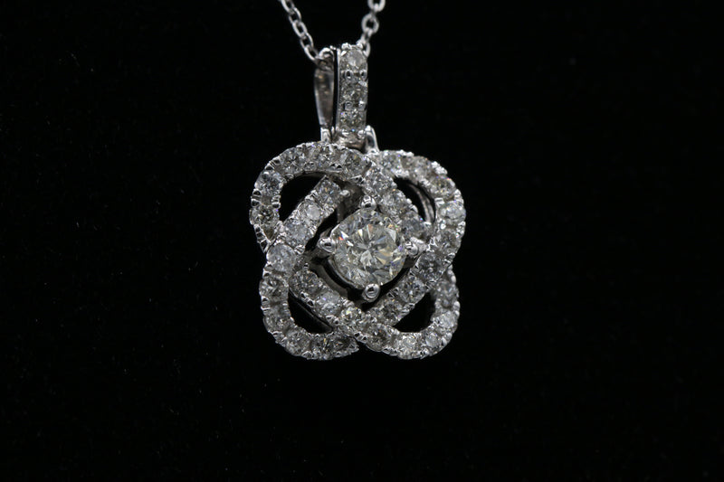 Diamond Love Crossing Pendant Necklace In 14 Karat White Gold ( 3/4ct dtw )