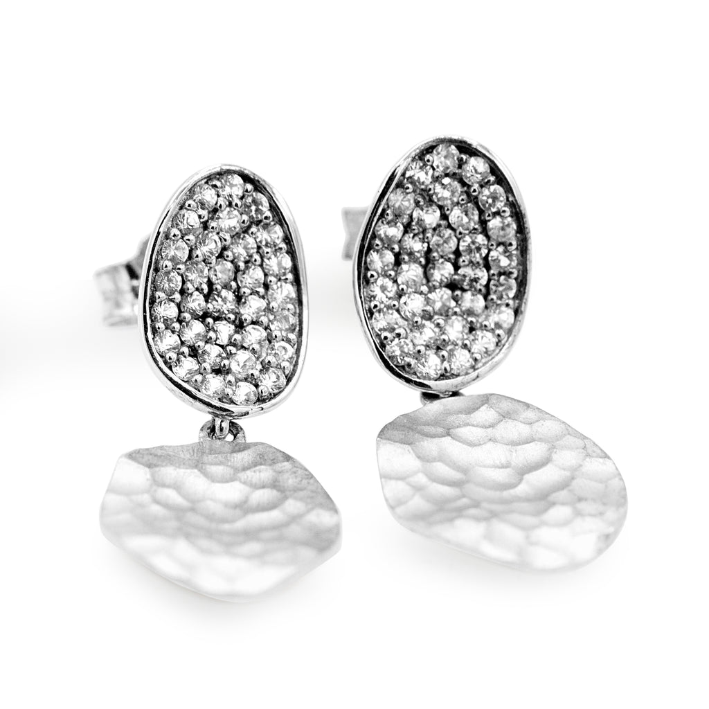 Beautiful Sterling Silver White Sapphire Dangle Fashion Earrings (0.50ct Carat Diamond Weight)