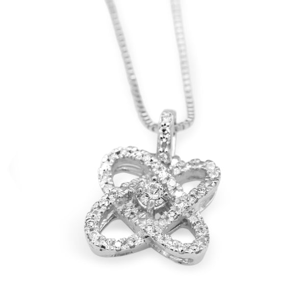 Diamond Love Crossing Pendant In Radiant Sterlling Silver ( 1/4ct dtw )