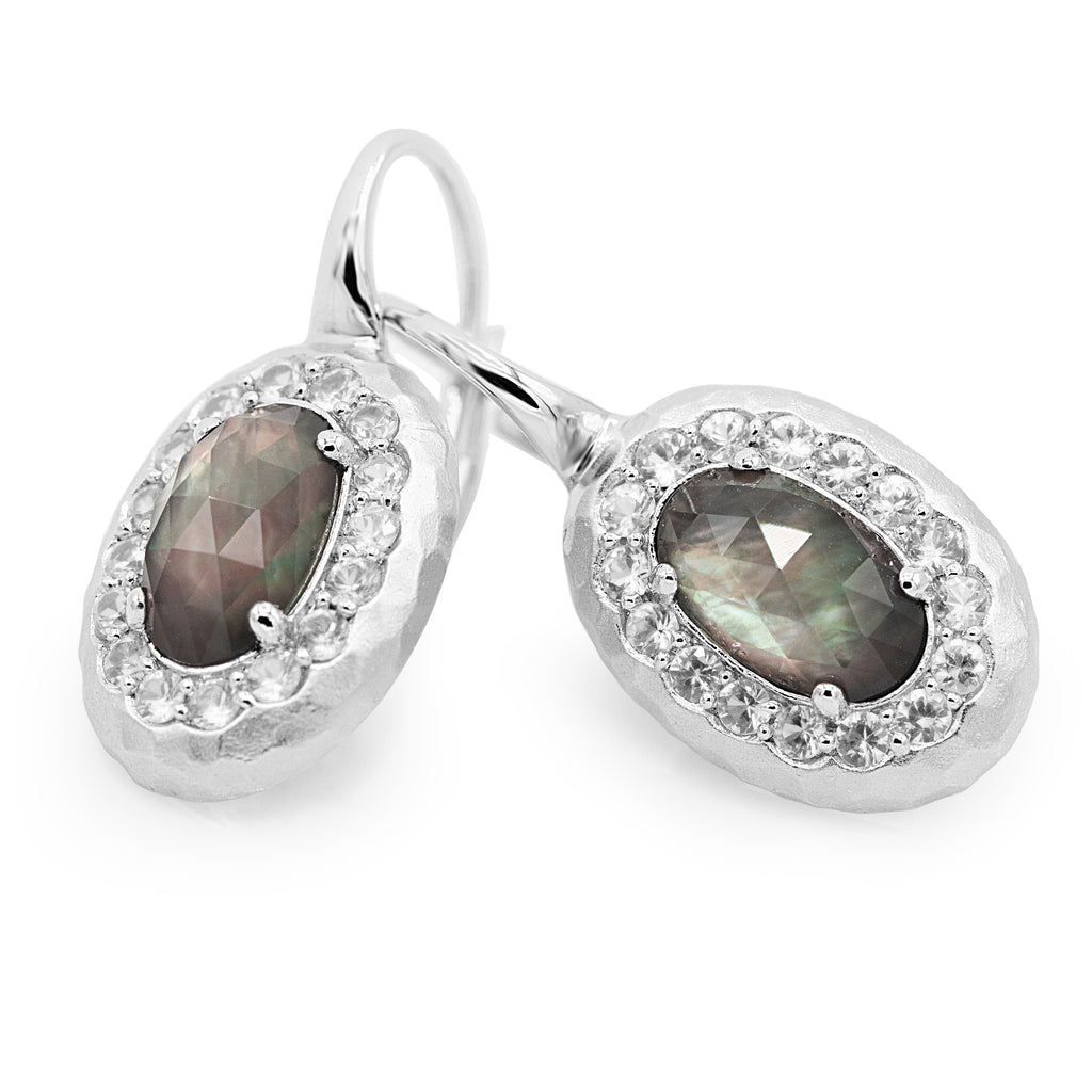 Ravishing Sterling Silver Brown Sapphire Fashion Earrings (0.99ct Carat Diamond Weight)