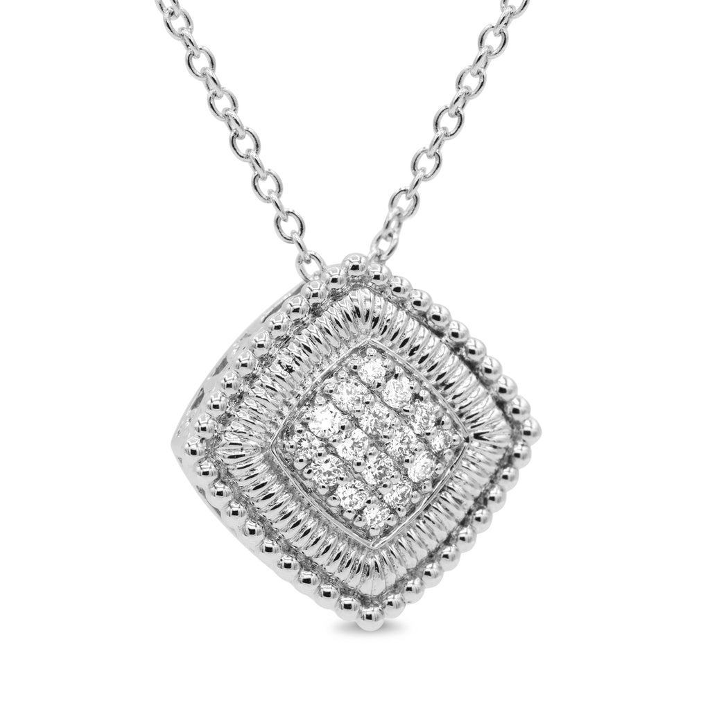 Amazing Sterling Silver Diamond Fashion Necklace with 18