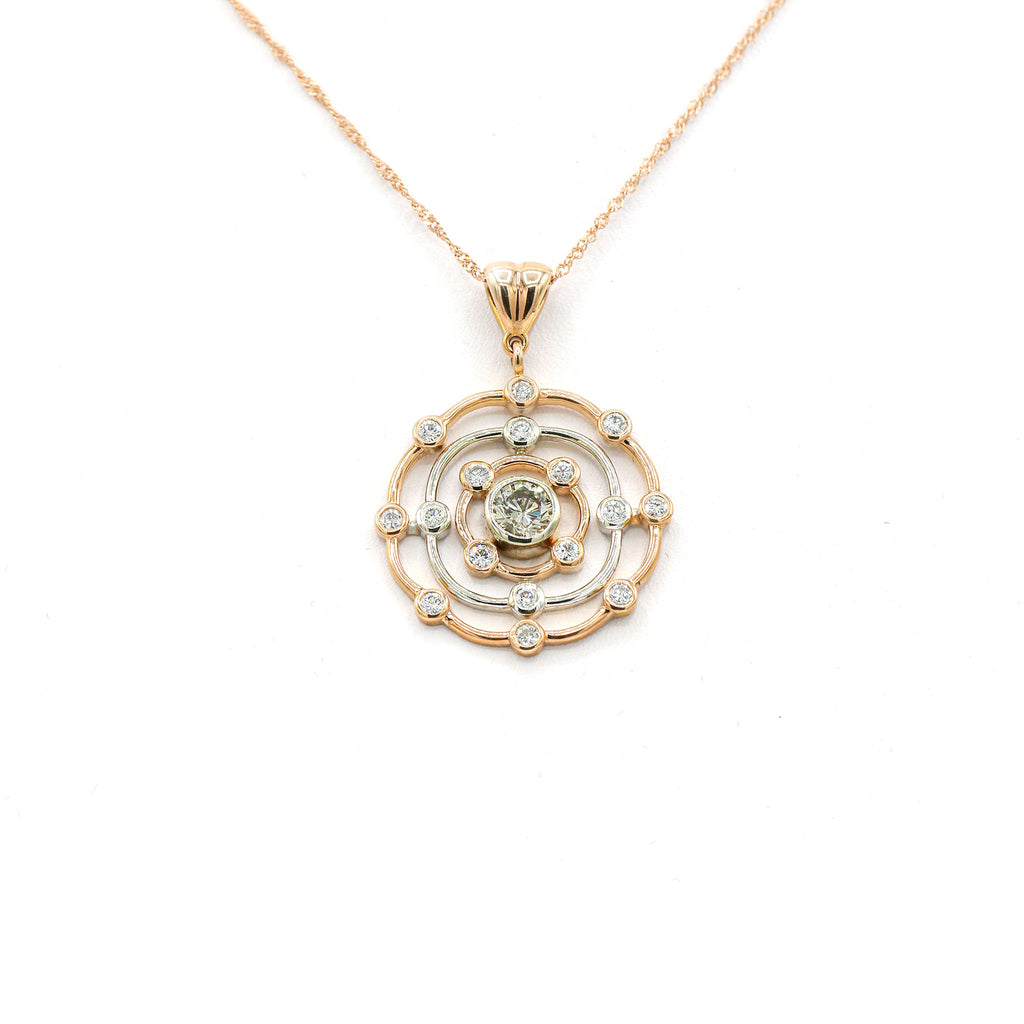 Embellished 14Kt Rose Gold Diamond Circles Pendant with 1.40ct Round Diamonds