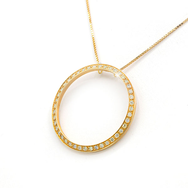 Diamond Circle Pendant In 14 Karat Rose Gold ( 1.00ct dtw )