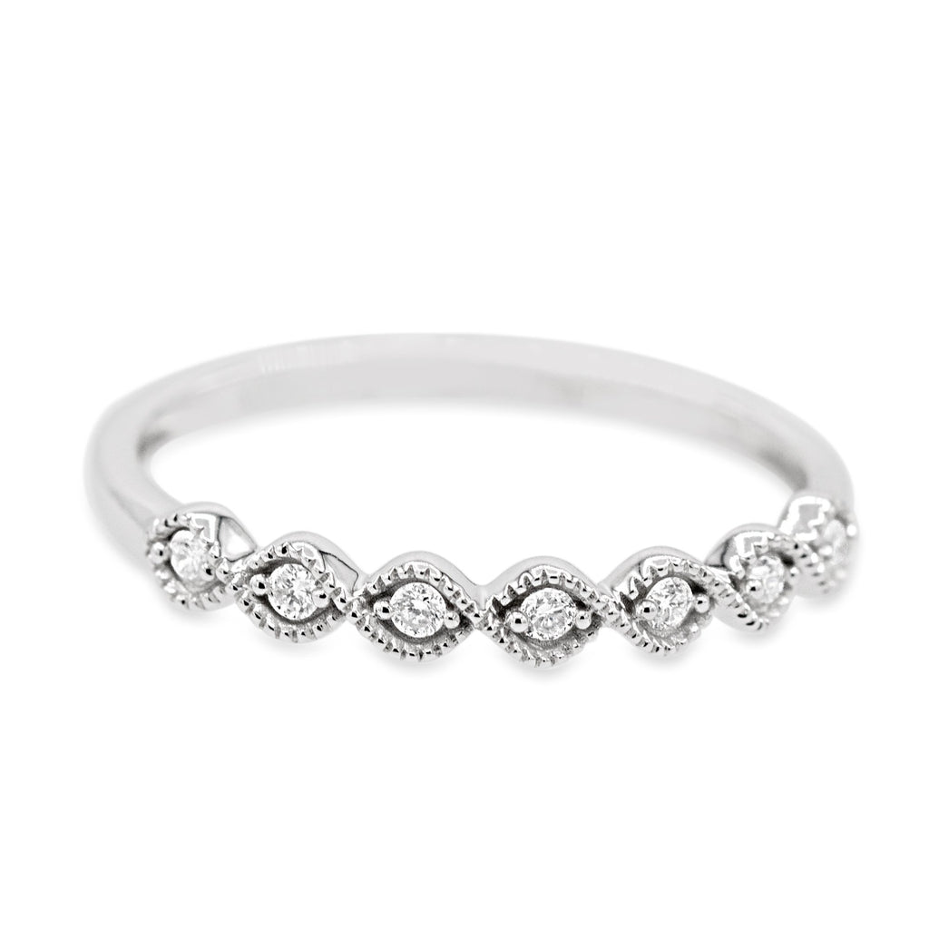 Coruscating 14K White Gold Bead Diamond Band (0.10ct Carat Diamond Weight)
