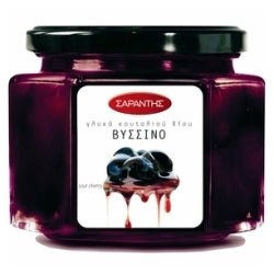 Greek black sour cherry compote, fruit topping, 'vissino', by Sarantis
