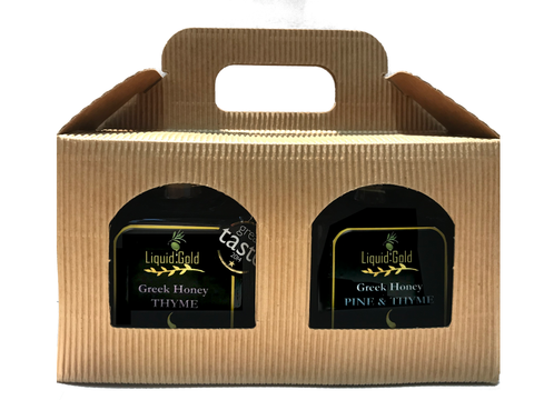 Greek Pine and Thyme Honey Gift Set from Crete - 2 x 390 gr jars, by Liquid Gold