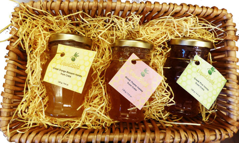 Greek honey variety gift basket - 3 x 130g amphora jars of pine, thyme and orange blossom