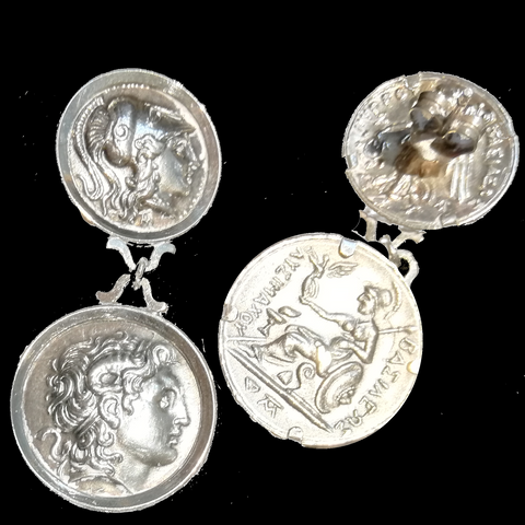 Solid silver earrings with Alexander the Great double linked coin earrings, 2nd image on reverse