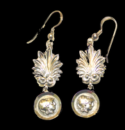 Solid silver earrings with Alexander the Great coinage and plume, hand made in Greece