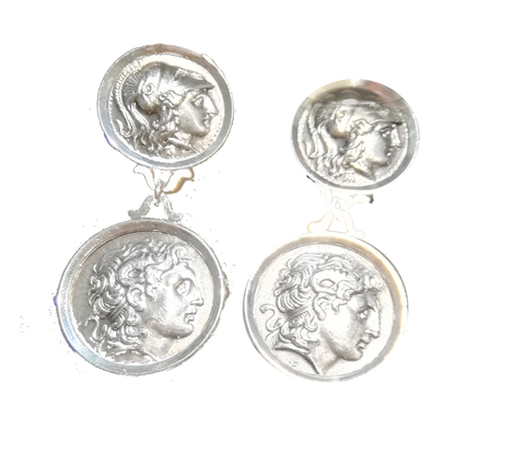 Solid silver earrings with Alexander the Great coin earrings, double linked coins