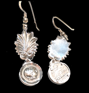 Solid silver earrings with Alexander the Great coinage and plume, inscription on reverse, hand made in Greece
