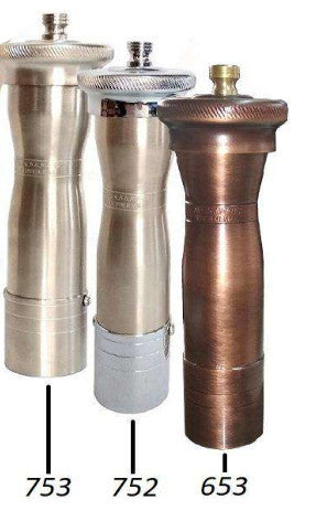Chef Athena - Greek hand made pepper mill grinder, ergonomic, 24cm in antiqued brass or matt nickel