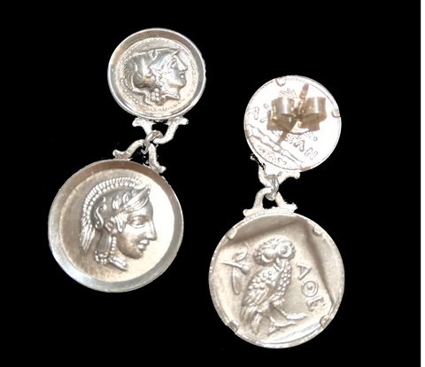 Solid silver earrings with Goddess Athena, owl on reverse, hand made in Greece