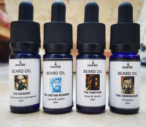 Liquid Gold Beard Oil, 4 aromas, all natural 10 ml, Liquid Gold Products