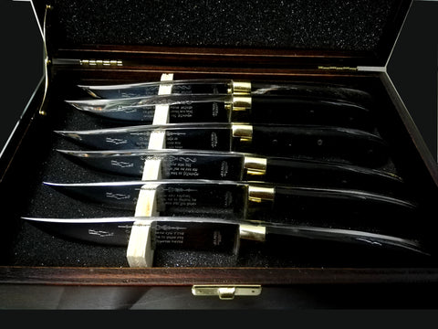 Hand made Cretan steak knives, boxed set of 6 with dark horn handle, solid brass heel, inscription