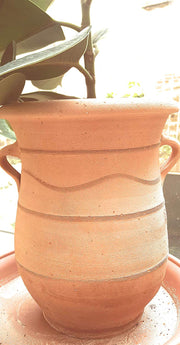 Cretan handmade terracotta pot/ planter, curvaceous with Minoan patterns and handles - Bogiazopitharo 30cm