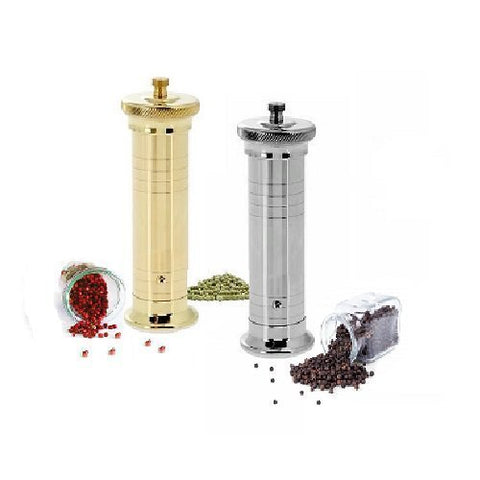 Hand made in Greece - solid brass chef's pepper mill grinder in chrome or nickel, 2 sizes