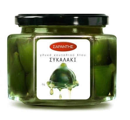 Greek green fig compote, fruit topping, sykalaki,  by Sarantis