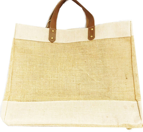 jute and leather shopping tote bag, eco friendly