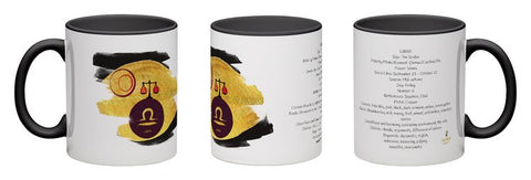 Libra - unique design modern zodiac mug with astrology information