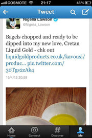 Nigella Lawson tweet about Cretan Liquid Gold Organic - her new love