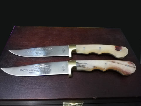 Hand made Cretan steak knives, boxed set of 6 with light horn handle, solid brass heel, inscription