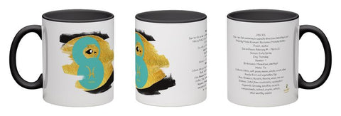 Pisces, unique design modern zodiac mug with astrology information, black inside and handle