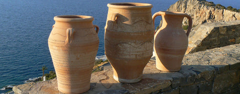 Cretan ceramic pots, pithoi and amphora