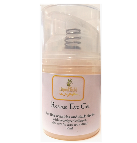 Rescue eye gel with hydrolysed collagen, aloe vera and sea weed extract, 30ml in an airless dispenser by Liquid Gold