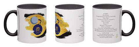 Scorpio - unique design modern zodiac mug with astrology information