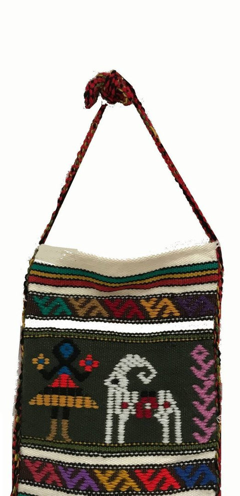 Greek Tagari Boho bag, woven wool, cream base colour 39 x 29 cm