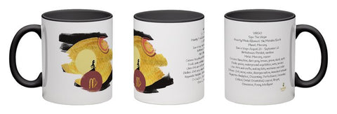 Virgo - unique design modern zodiac mug with astrology information, black inside and handle