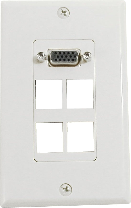 07-6071-04 4-Port Keystone Wallplate with VGA