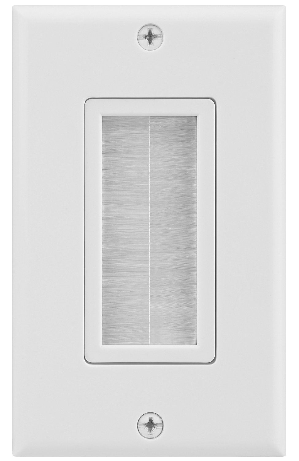 07-6086-01WH 1-Gang Brush Cable Pass Through Decorative Wall Plate - White