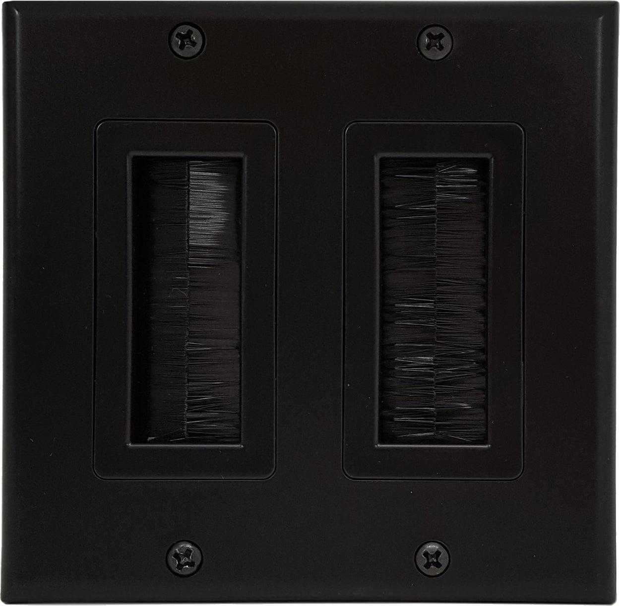 07-6086-02BK 2-Gang Brush Cable Pass Through Decorative Wall Plate - Black