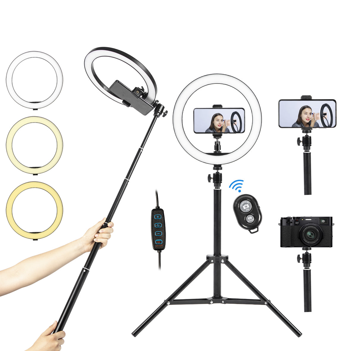 "97-7210 10"" LED Ring Light with Tripod Stand and Selfie Stick"
