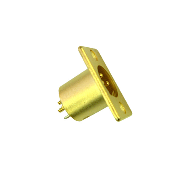 15-0608-3 XLR Male Chassis Mount Gold Plate